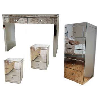 APHRODITE Mirrored Dressing Table, Pair of LUCIA Mirrored Bedside Tables & JULIANNA Mirrored Tallboy