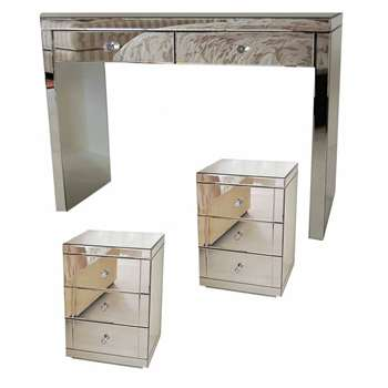 APHRODITE Mirrored Dressing Table & Pair of LUCIA Mirrored Bedside Tables