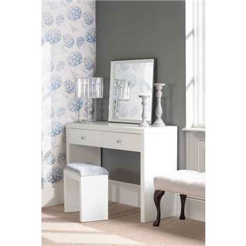 APHRODITE White Glass Dressing Table with 2 Legs (80 x 110cm)