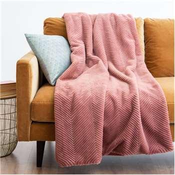 APOLLON - Pink Faux Fur Blanket (H150 x W180cm)