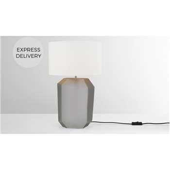 Aquari Glass Table Lamp, Grey (H47 x W30 x D30cm)