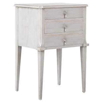 Aquila Bedside Chest of Drawers, Small - Distressed Grey (75 x 50cm)
