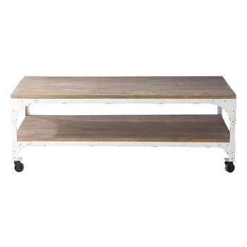 ARACHON Wood and metal coffee table on castors (42 x 110cm)