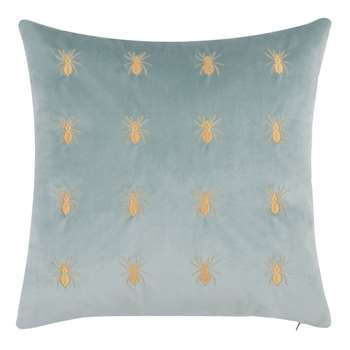 ARANA Grey-Green Cushion Cover with Gold Insect Print (H40 x W40cm)