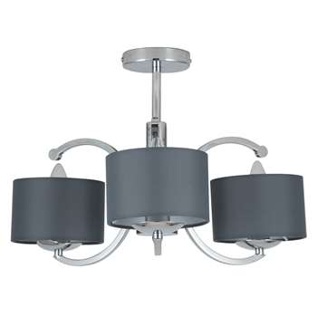 Arcadia 3 Light Ceiling Light Polished Chrome (H31 x W43 x D39cm)
