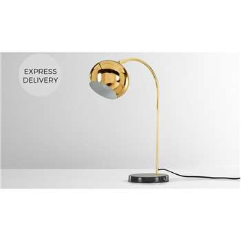 Arceli Table Lamp, Brass and Black Marble (H51 x W32 x D16cm)