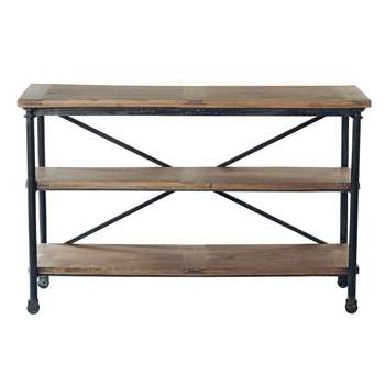 ARCHIBALD Solid mango wood and metal console table on castors (Width 130cm)