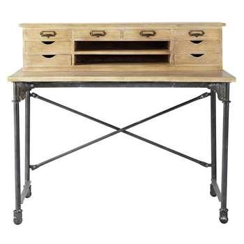 ARCHIBALD Solid mango wood and metal writing desk (103 x 117cm)