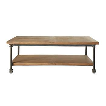 ARCHIBALD Wood and metal coffee table on castors (45 x 135cm)