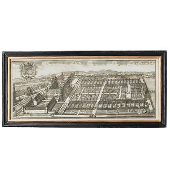 Architectural Palace and Garden Print - Black/White (40 x 86cm)