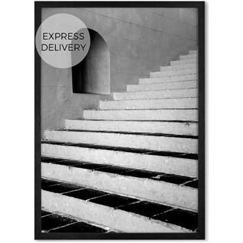 Architecture Steps Framed Wall Art Print, Black & White (H86 x W61 x D2cm)