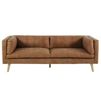 ARGOS Camel Vintage 3-Seater Leather Sofa (78 x 219cm)