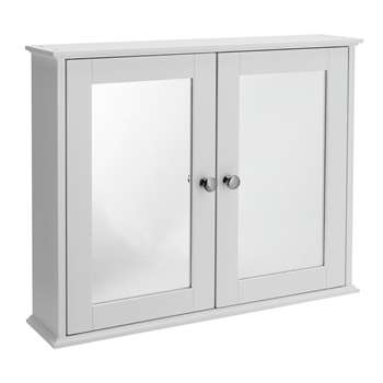 Argos Home 2 Door Mirrored Classic Core Cabinet - White (H46 x W56 x D13cm)