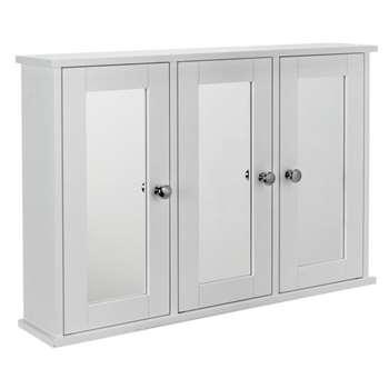 Argos Home 3 Door Mirrored Classic Core Cabinet - White (H45 x W65 x D13cm)