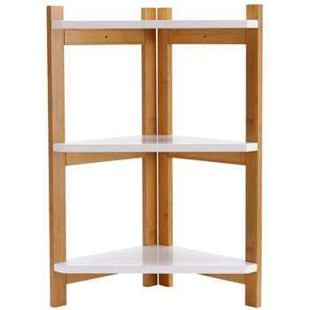 Argos Home 3 Tier Bamboo Corner Shelf Unit - Two Tone (H60 x W30 x D30cm)
