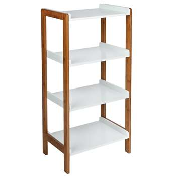 Argos Home 4 Tier Bamboo Shelf Unit - Two Tone (H90 x W45 x D30cm)