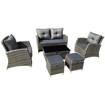 Argos Home 6 Seater Rattan Effect Sofa Set with Storage
