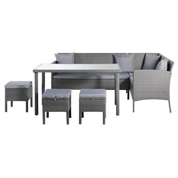 Argos Home - 8 Seater Rattan Effect Corner Dining Set