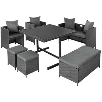 Argos Home 8 Seater Rattan Effect Cube Set with Storage