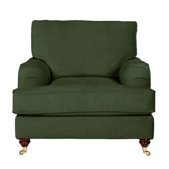 Argos Home Abberton Velvet Armchair - Green (H90 x W102 x D97cm)
