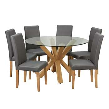 Argos Home Alden Glass Round Table & 6 Chairs - Charcoal