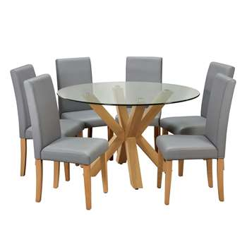 Argos Home Alden Glass Round Table and 6 Chairs - Grey