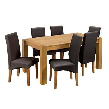 Argos Home Alston Oak Veneer L160 Table and 6 Chairs - Chocolate
