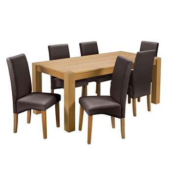 Argos Home Alston Oak Veneer L180 Table and 6 Chairs - Chocolate