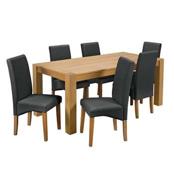 Argos Home Alston Oak Veneer Table and 6 Chairs - Black