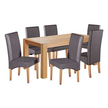 b93e9f2f03 Argos Home Alston Oak Veneer Table and 6 Chairs - Charcoal