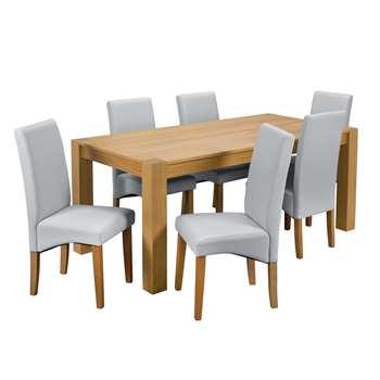 Argos Home Alston Oak Veneer Table and 6 Chairs - Grey