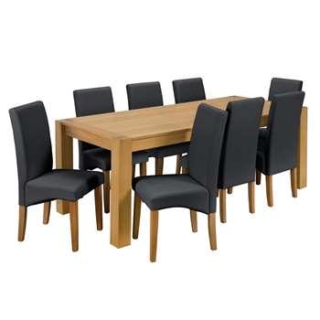 Argos Home Alston Oak Veneer Table and 8 Chairs - Black