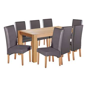 Argos Home Alston Oak Veneer Table and 8 Chairs - Charcoal