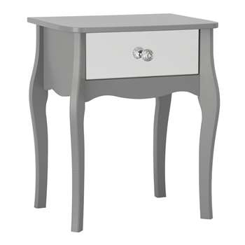 Argos Home Amelie 1 Drawer Mirrored Bedside Table - Grey (H55 x W45 x D35cm)