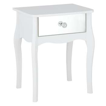 Argos Home Amelie 1 Drawer Mirrored Bedside Table - White (H55 x W45 x D35cm)