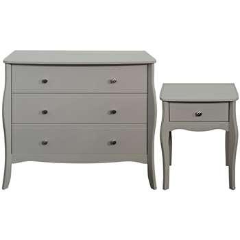Argos Home Amelie Bedside & 3 Drawer Chest - Grey