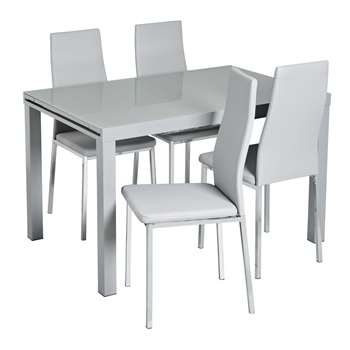 Argos Home Anton Extendable Glass Table & 4 Chairs - Grey
