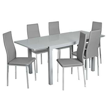 Argos Home Anton Extendable Glass Table and 6 Chairs - Grey