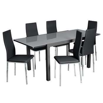 Argos Home Anton Extending Glass Table and 6 Chairs - Black