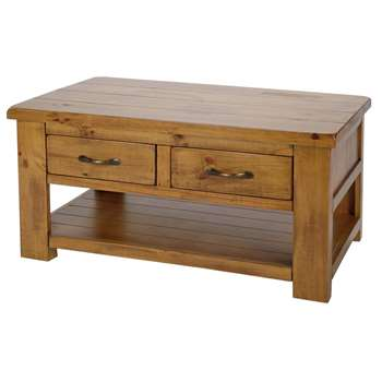 Argos Home - Arizona 2 Drawer 1 Shelf - Coffee Table - Pine (H50 x W100 x D60cm)