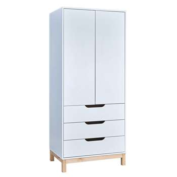 Argos Home Arlo White & Pine 2 Door 3 Drawer Wardrobe (H180 x W78 x D53cm)