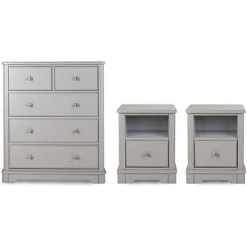 Argos Home Ashbourne Soft Grey 2 Bedside & 3+2 Drawer Package
