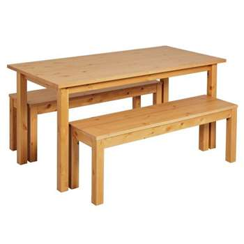 Argos Home Ashdon Dining Table and Bench Set - Oak Stain