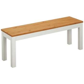 Argos Home Ashdon Solid Wood Bench - Two Tone (H45 x W125 x D35cm)