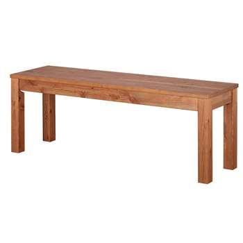 Argos Home Ashdon Solid Wood Bench - Walnut Stain (H45 x W125 x D35cm)