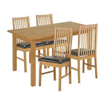 Argos Home Ashdon Solid Wood Dining Table & 4 Chairs - Grey