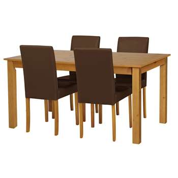Argos Home - Ashdon Solid Wood Table & 4 Chairs - Chocolate + Oak Stain