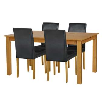Argos Home - Ashdon Solid Wood Table & 4 Mid Back Chairs - Black - Oak Stain