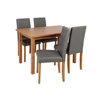 Argos Home Ashdon Solid Wood Table & 4 Mid Back Chairs- Grey