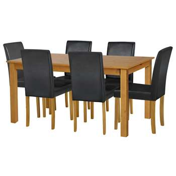 Argos Home - Ashdon Solid Wood Table & 6 Chairs - Black + Oak Stain